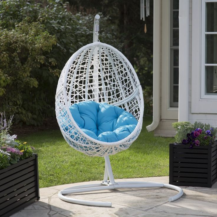 Outdoor Island Bay Resin Wicker Blanca Hanging Egg Chair with Cushion Color Option and Stand Sky Blue - WS-7323