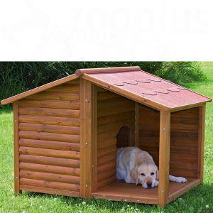 Cuccia-baita per cani con terrazza coperta, realizzata in legno di pino trattato e particolarmente resistente a basse temperature e intemperie.