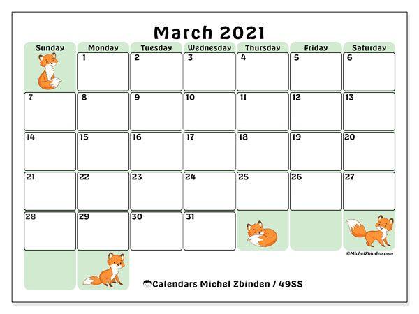 Calendrier 2021 Michel Zbinden Calendar March 2021   49SS   Michel Zbinden EN | Calendrier
