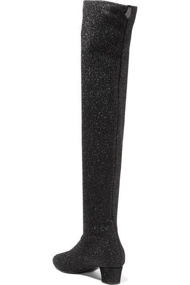 Giuseppe Zanotti - Natalie Glittered Stretch-knit Over-the-knee Boots - Black