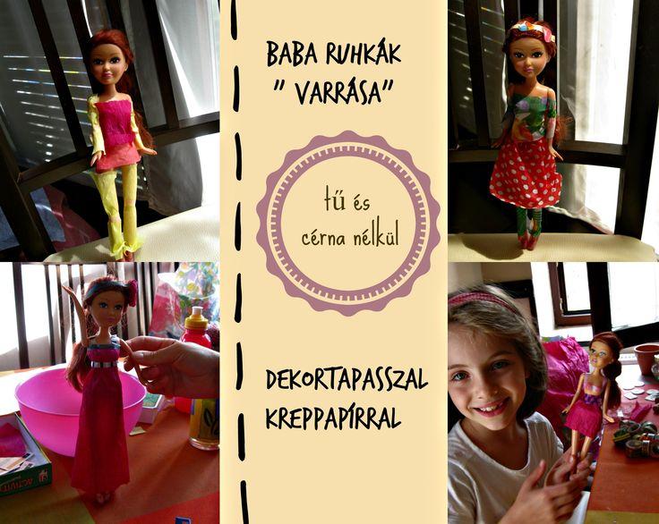 Az én lányom nem tud úgy igazán Barbiezni(ez nem Barbie amúgy azt hiszem), hamar kimerül a játék , így tanácsoltam, hogy készítsen ruhákat. A varrás még nem egy felhőtlen sikerélmény, kitaláltuk, hogy papírruhákat tervez a születésnapjára kapott babának. Nagyon élvezi:)