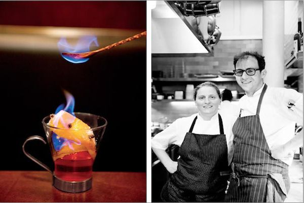 The Legendary Tosca Cafe Gets a Spit Shine | 7x7 (Left): The Cap Haitian Apple Toddy is served warm with Haitian rum, cider, roasted apple, spiced butter, and a flamed, clove-spiked orange peel.(Right): April Bloomfield brought Joshua Even (right), a sous chef at her John Dory Oyster Bar in New York, to be her chef de cuisine.The two pay tribute to North Beach's history with an Italian-centric