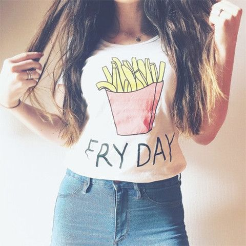 "Fry-Day Funny T-Shirt - Rebel Style Shop -  This funny t-shirt is designed for women and children. The cute ""Fry Day"" design is perfect for casual get-ups and street wear fashion. Weak it sneaks for a laidback OOTD or with a soft grunge look featuring mini shorts and boots."