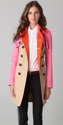 Menage A Trois Trench Coat. Camel / Pink / Orange.: Fashion, Color Trench, Clothing, Bright Color, Menag A Troi, Color Blocks, Trench Jackets, Troi Trench, Trench Coats