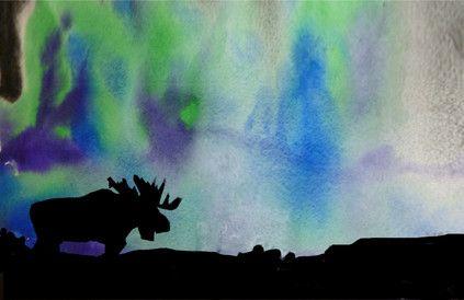 Northern Lights - tecbryantart / moose silhouette