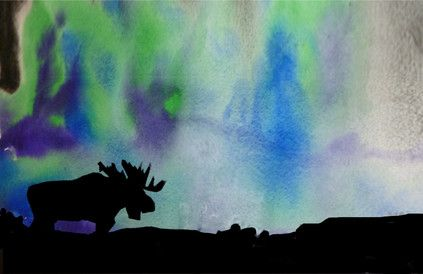 Northern Lights - tecbryantart / moose silhouette