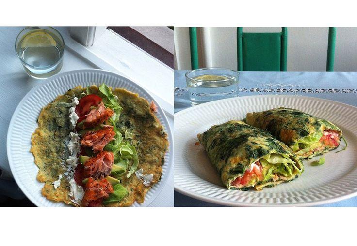 Spinat-ægge-wrap med avokado, laks, frisk ost, tomat og spidskål | Woman.dk