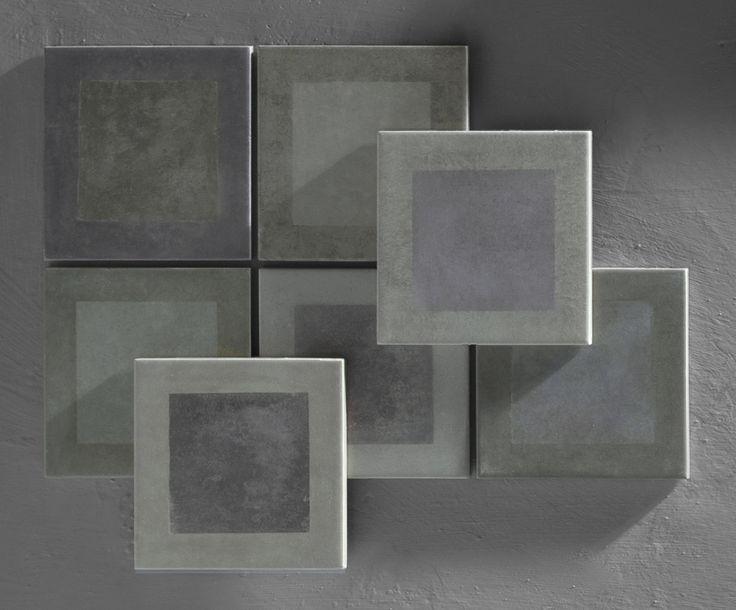Il programma Frame di Tonalite presenta 3 colori e 15 decori in formato 11,6x11,6 declinabili in innumerevoli combinazioni a pavimento e rivestimento. Cersaie 2016