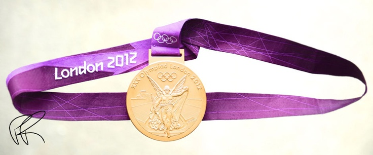 Pete Reed's initialled photo of his London 2012 Olympic gold medal for rowing