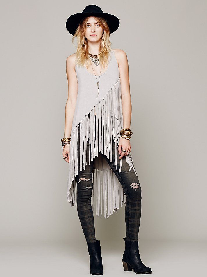 Free People Maheya Solid Fringe Tunic at Free People Clothing Boutique