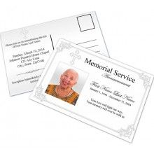 Use these memorial service announcement card templates to inform friends and family about the passing of a loved one or to invite them to a funeral or memorial service