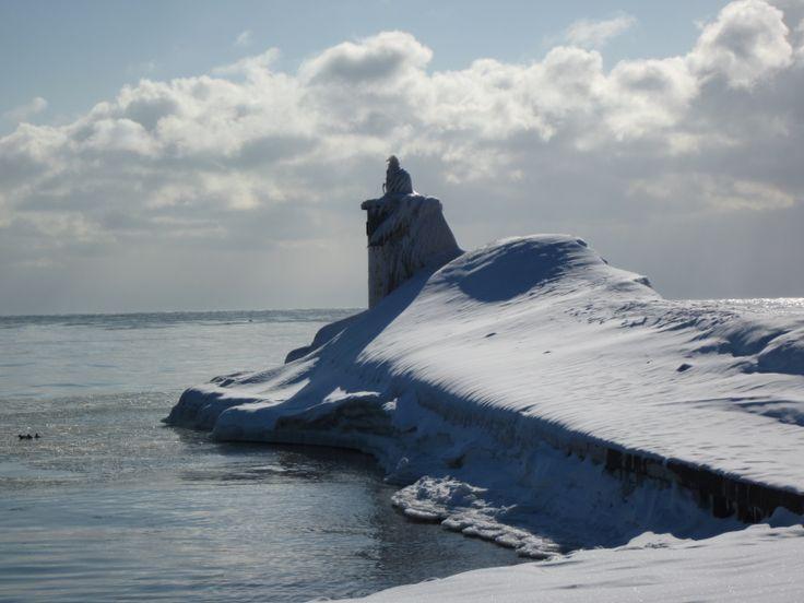 Port of Newcastle, Ontario,light beacon - Feb. 11, 2014.
