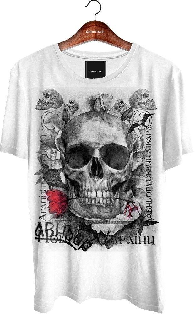 """Camiseta Gola Básica - Sunglass Skull 100% algodão. Cor branca. Bainha nas mangas e na barra.Estampa aplicada através de """"serigrafia toque zero""""."""