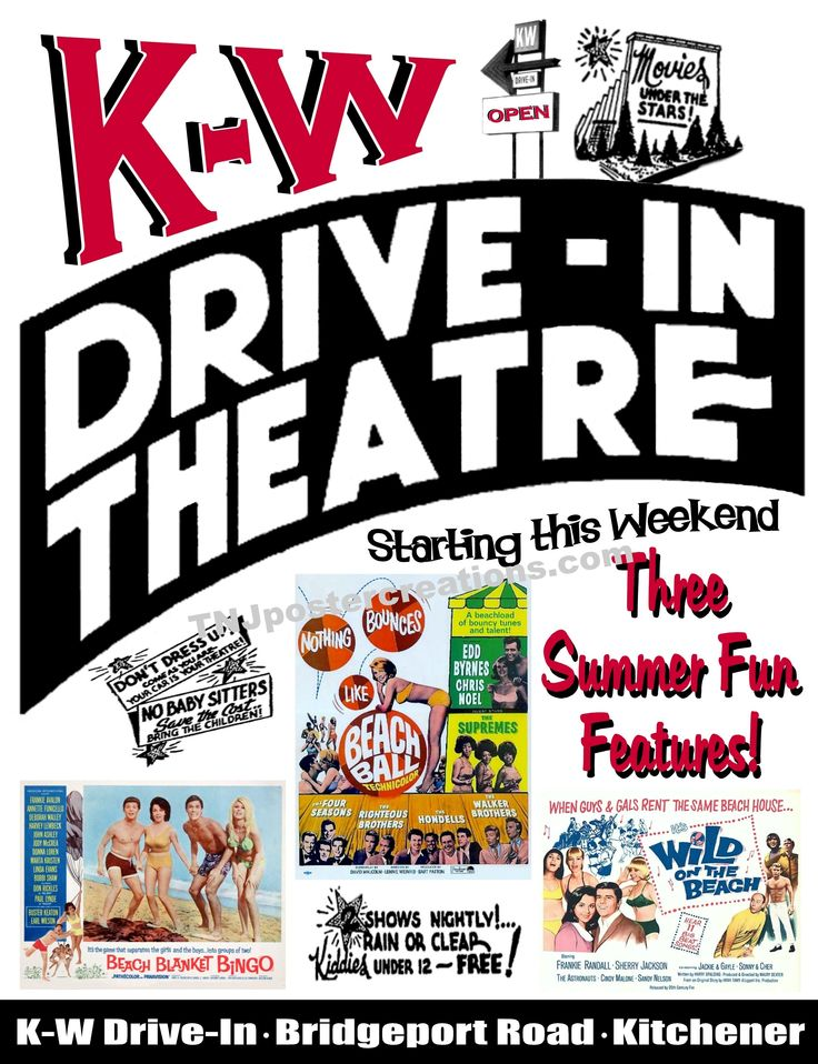 """K-W Drive-In, once located in the Bridgeport section of Kitchener, Ontario, Canada, featured a """"beach bonanza"""" of movies in 1965. Courtesy of www.tnjpostercreations.com"""