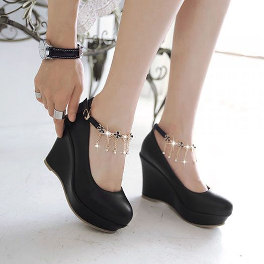 Mary Jane Bridesmaid Round Toe Logopinkycolor Hot Selling Cute Discount Solid Famous Brand Shoes Woman Pumps Plateau Rhinestone