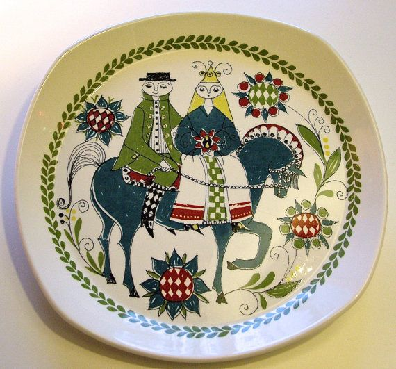 vintage FIGGJO Norway SAGA plate with couple on by MarthesVintage