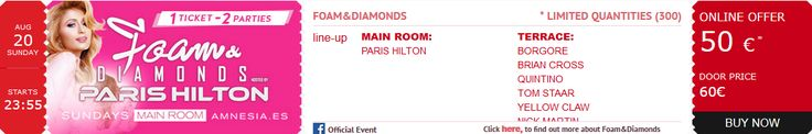 #Order your #tickets for 08.20.17 #DJ @ParisHilton's #FoamAndDiamonds #SexySunday #Party; the world's premiere #Ibiza #experience! @amnesiaibiza @billboarddance @whiteibiza #Actress #AmnesiaIbiza #Billboard #CashMoneyRecords #Dance #DJMagTop100 #DJParisHilton #EDM #ElectroHouse #Electronic #FoamAndDiamonds2017 #House #Ibiza #LittleHiltons #Model #Music #Musician #ParisHilton #PDiamond #ProgressiveHouse #Remixes #Top100DJ #TechTrance #Trance #TropicalHouse #YMCMB www.parishilton.com