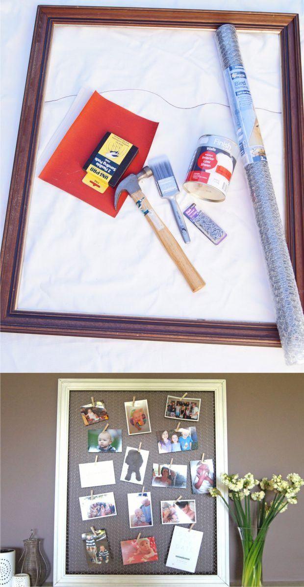 Recicla un marco para colgar tus fotos - wholovesthat.com - DIY Frame Upcycled Photo Board