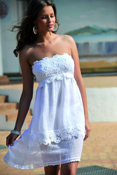 Cotton Club Mare White Musk Bandeau Strandkleid...perfect for summer!