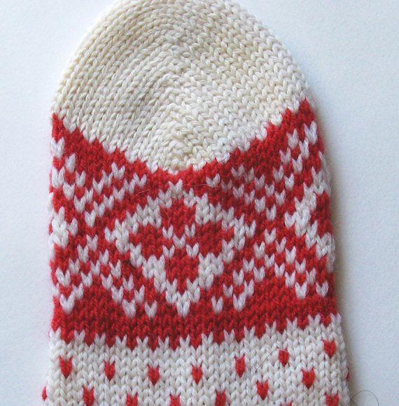 Red and white CUSTOM MADE Scandinavian pattern by TatianaOrlova