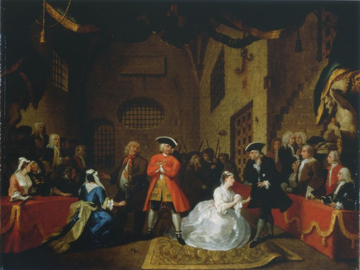 Painting by William Hogarth of a scene from Gay's 'The Beggar's Opera', scene VI, 1731.