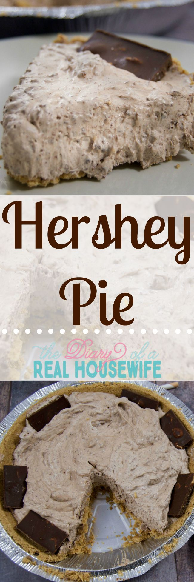 Save this recipe when you need a really quick dessert! It's so good and so easy! Hershey Pie. NO BAKING!