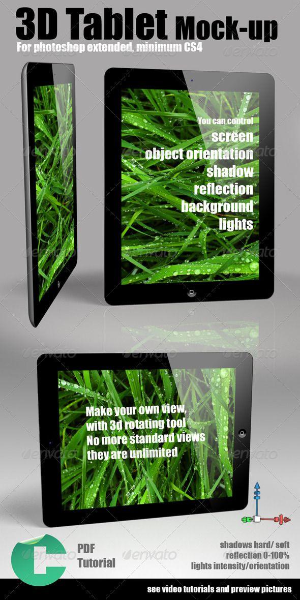 3d Object Tablet MockUp Tablet, Pdf tutorials, Mockup