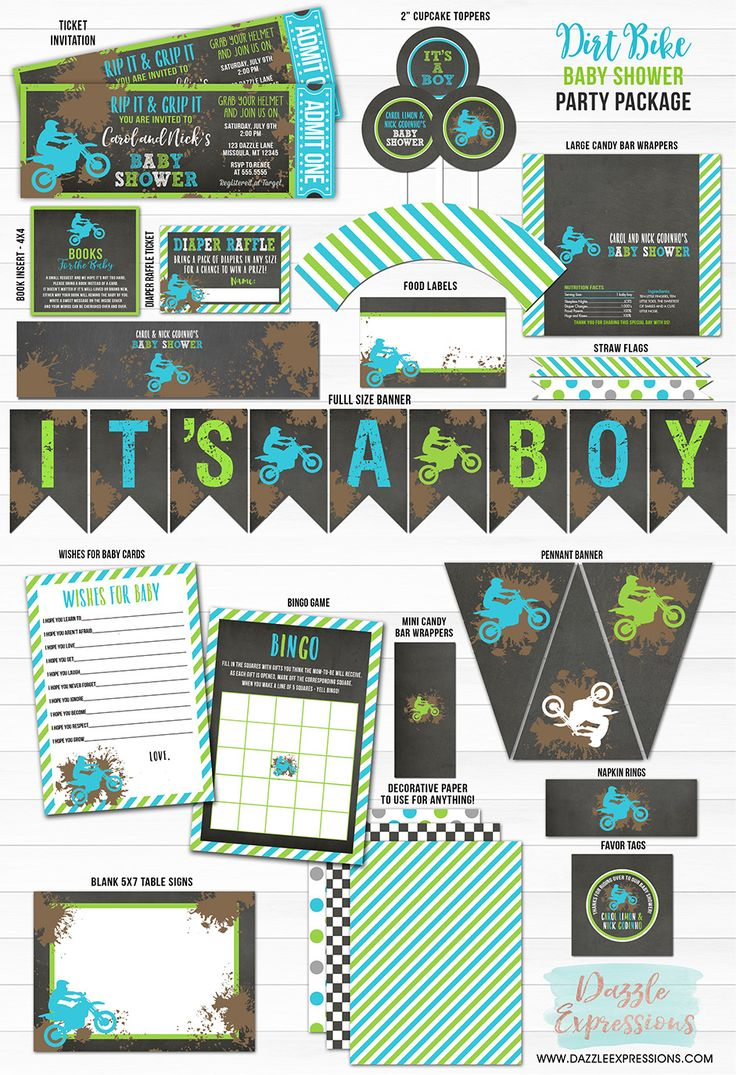 Printable Dirt Bike Chalkboard Baby Shower Package | Blue and Green Motocross Party | Its a Boy | Baby Boy | Couples Baby Shower | Birthday Idea | Favor Tag | Diaper Raffle Ticket | Cupcake Toppers | Banner | Books for Baby Insert Card | Wishes for Baby | Shower Games | DIY Decor