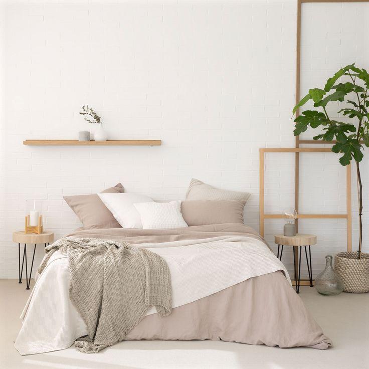 Colcha e capa de almofada algodão riscas diagonais cor de toupeira - Linen Collection - Cama | Zara Home Brasil