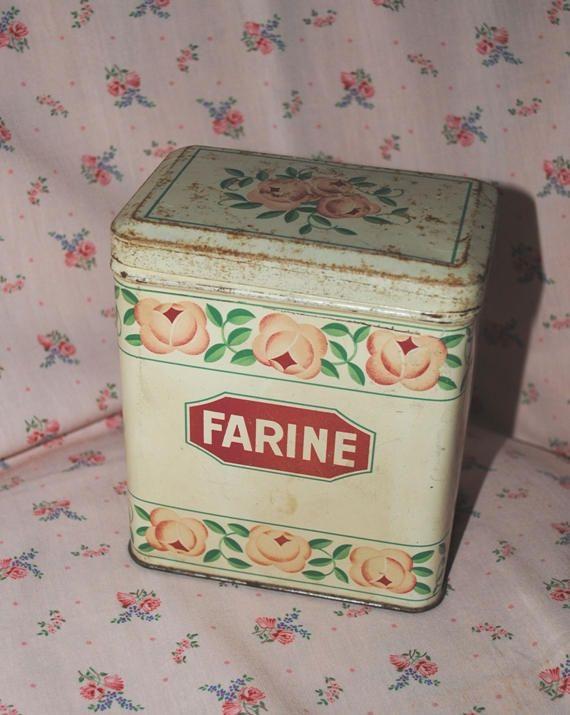 SCATOLA di LATTA Chocolat MENIER Farine con Rose