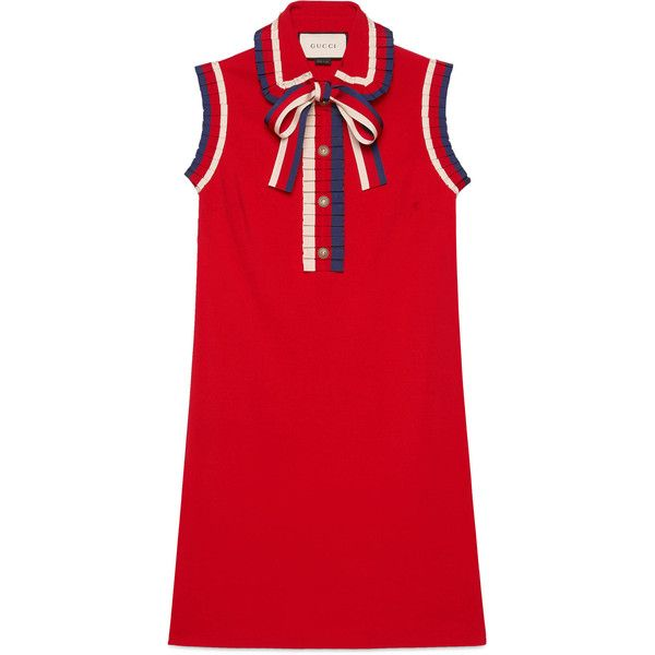 Gucci Stretch Viscose Jersey Dress ($1,700) ❤ liked on Polyvore featuring dresses, red, red stretch dress, pleated shirt dress, red pleated dress, pleated dresses and shirt dresses