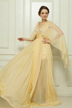 Tencel robe en mousseline de soie perlés à la main soirée beige