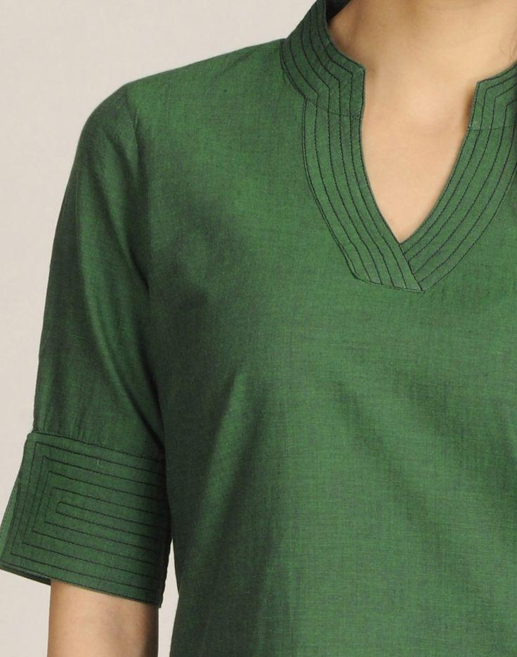 Fabindia.com | Cotton Mangalgiri Plain Stitched Detail Tunic