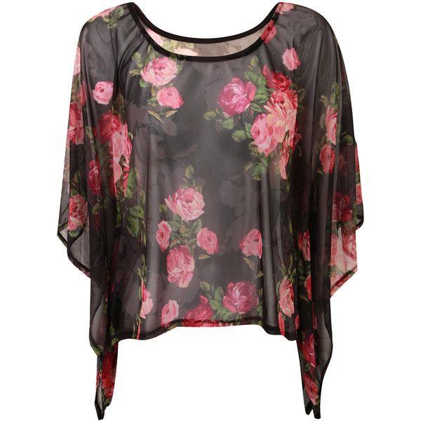 Dressrail.com - Rose Print Kimona Sleeve Mesh Top-Black ($21) ❤ liked on Polyvore featuring tops, shirts, blusas, t-shirts, mesh shirt, sleeve shirt, mesh sleeve top, rose print top and sleeve top