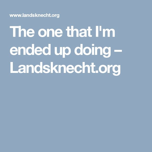 The one that I'm ended up doing – Landsknecht.org