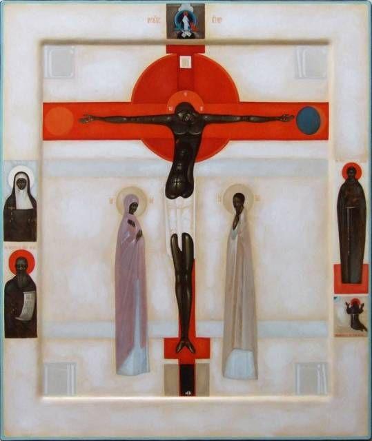 IKONA UKRZYŻOWANIA (w klejmach postaci świętych oraz ikona Zmartwychwstania - Zstąpienia do otchłani) [ICON CRUCIFIXION (klejmach in the form of saints and the icon of the Resurrection - Descent into hell)] icon, by Greta Maria Leśko
