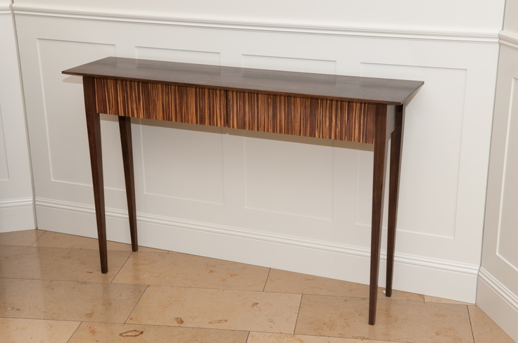 Solid walnut console/sofa table with tiger bamboo drawer fronts and Pistachio painted drawers. Available through Conbu Interior Design in either solid walnut or veneer. www.conbudesign.com