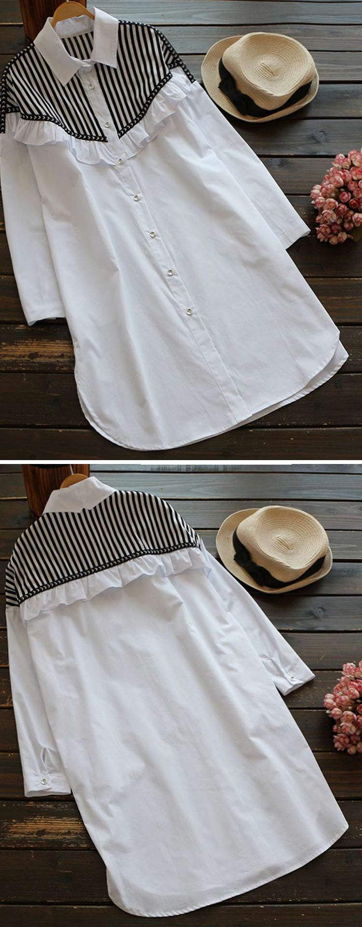 A ruffle/striped long shirt to have with free shipping Now! This shirt dress is cute and it does button all the way down! So chic look to get Only at Cupshe.com