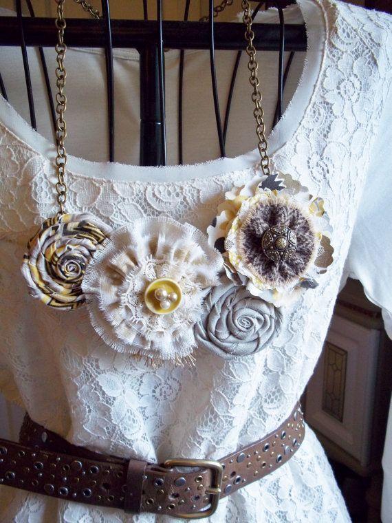 Fabric Flower Bib Necklace Statement  by SweetBloomsBoutique, $26.00
