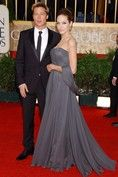 In a St John dress at the Golden Globes in 2007 - the year that Pitt's film, Babel, scooped the Best Film award. The actress was reportedly paid $12 million to become the face of the California-based label in 2005.