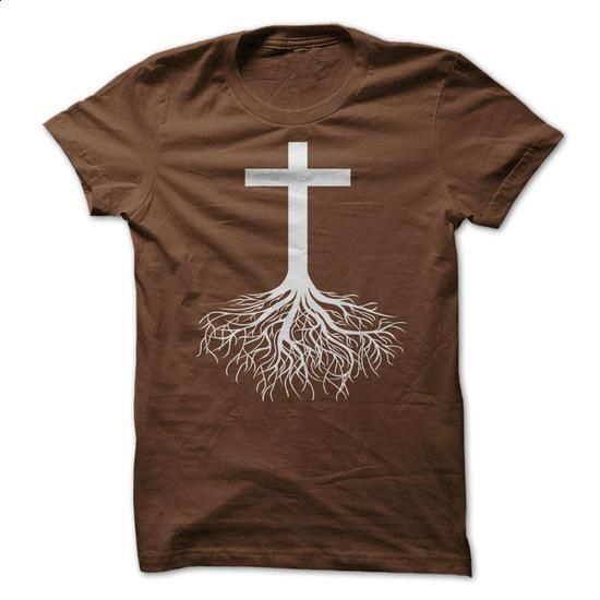 Christian T-Shirt with White Cross and Roots - #mens dress shirts #men shirts. CHECK PRICE => https://www.sunfrog.com/Faith/Christian-T-Shirt-with-White-Cross-and-Roots.html?60505