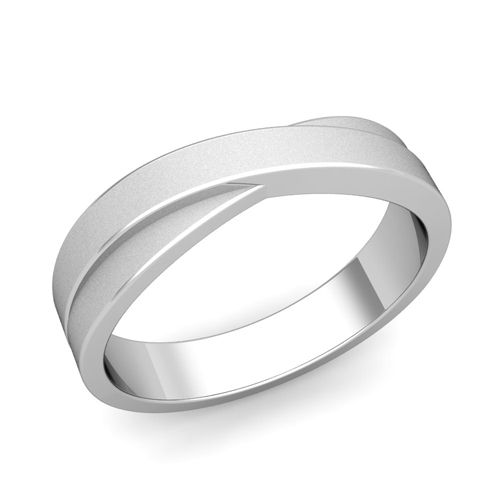 Infinity Wedding Band in 14k Gold Matte Finish Comfort Fit Ring, 5mm. This infinity wedding band from My Love Wedding Ring is crafted in a 14k gold 5mm satin finish wedding band that is perfect as anniversary rings or matching wedding bands for men and women.