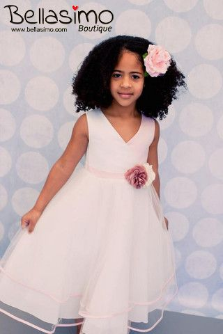 Two tone satin bodice with layered tulle skirt. Comes with two matching satin flowers.  Price: $ 60.00    http://www.bellasimo.com/collections/floral-dress/products/2-tone-layered-dress  Made in United States. (KD) #floral #dress #clothes #kids #girls #party