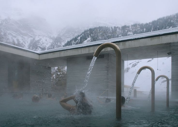 According to curator Jane Withers, many bathhouses have been used to revive communities, such as Peter Zumthor's Therme Vals in Switzerland