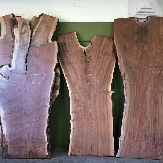 Claro and Black Walnut Slabs. Need a dining room table?