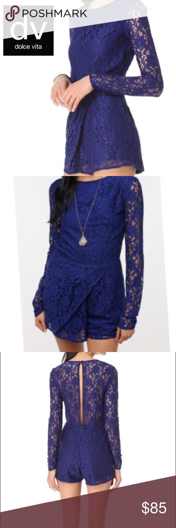 """Dolce Vita - Jaiden Lace Romper Lace one-piece from Dolce Vita. Cut with a fitted top and trimmed with an overlay at the shorts. Open at the sheer back with a button closure at the neck. Lined throughout except at the sheer back; zipper closure. 31.5"""" from shoulder to hem. Inseam 4"""". Rise 12"""". Leg opening 13"""" flat. Dolce Vita Dresses"""