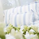 Fresh and classic 100% Cotton Percale ticking stripe bedlinen in pale Blue, Taupe and White on White.