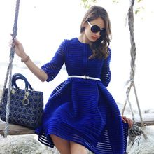 2015 Spring Fashion Dress Women European American Apparel Vintage Hollow Out Stripe Pleated Brand Dress Ball Gown With Belt D54