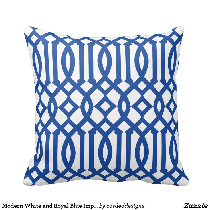 Royal Blue And White Throw Pillows : Modern White and Royal Blue Imperial Trellis Throw Pillow Throw pillows, Royal blue and Trellis