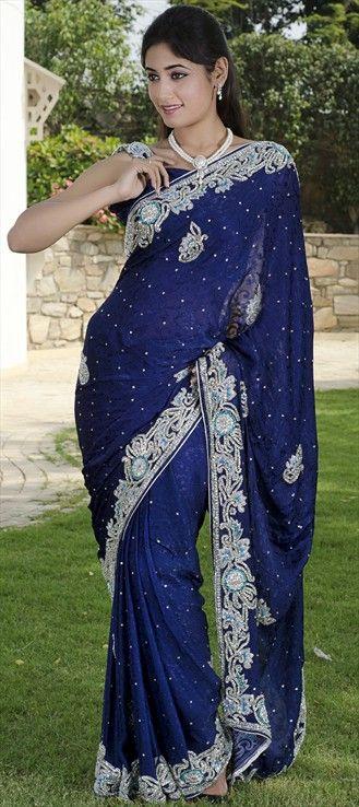 75888, Party Wear Sarees, Embroidered Sarees, Bridal Wedding Sarees, Jacquard, Zardozi, Cut Dana, Kundan, Stone, Blue Color Family